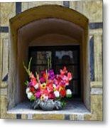 Window Sill Flower Arrangement At Cesky Krumlov Castle In The Czech Republic Metal Print