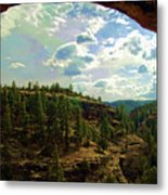 Window View From Inside Gila Cliff Dwellings Metal Print