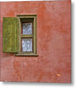 Window With A Lace Curtain Metal Print