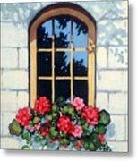 Window With Flower Box Metal Print