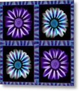 Windowpanes Brimming With  Moonburst Stripes Of Flowers - Scene 1 Metal Print