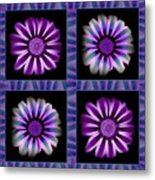 Windowpanes Brimming With  Moonburst Stripes Of Flowers - Scene 6 Metal Print