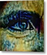 Windows Into The Soul Eye Painting Closeup All Seeing Eye In Blue Pink Red Magenta Yellow Eye Of Go Metal Print