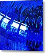 Windows Reflected On A Blue Bowl 3 Metal Print