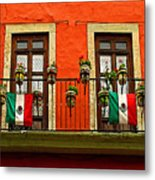 Windows With Flags Metal Print