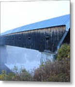 Windsor Cornish Covered Bridge Fog Metal Print