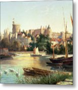 Windsor From The Thames   Metal Print by Robert W Marshall