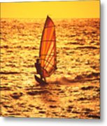 Windsurfer At Sunset Metal Print