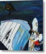 Windsurfing And Sea Turtle Metal Print
