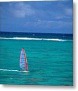Windsurfing In Clear Ocea Metal Print by Allan Seiden - Printscapes
