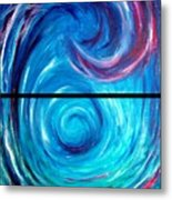 Windwept Blue Wave And Whirlpool Diptych 1 Metal Print