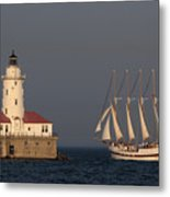 Windy And The Chicago Harbor Light - D009820 Metal Print