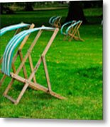 Windy Chairs Metal Print by Harry Spitz