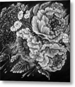 Windy Flowers Black And White Metal Print