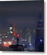 Windy Night Lights Abstract Metal Print