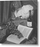 Wine And A Book Metal Print