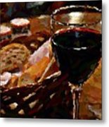 Wine And Bread Metal Print
