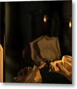 Wine And Candle Metal Print