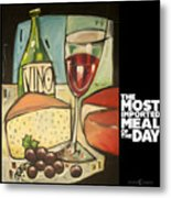 Wine And Cheese Imported Meal Metal Print