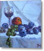 Wine And Fresh Fruits Metal Print