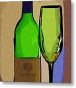Wine And Glass Metal Print