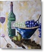 Wine And Grapes Metal Print