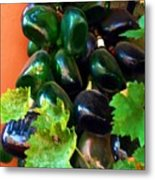 Wine And Grapes Full Circle Metal Print