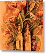 Wine And Tulips Metal Print