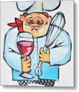Wine And Wisk Chef Metal Print