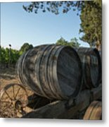 Wine Barrels At Vineyard Metal Print