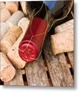 Wine Bottle And Corks Metal Print