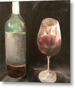 Wine Bottle And Glass Metal Print