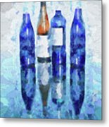 Wine Bottles Reflection  Metal Print