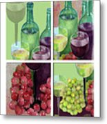 Wine From Grapes Collage Metal Print