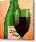 Wine Glass With Bottle Metal Print