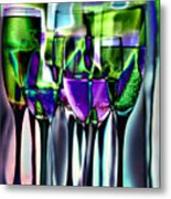 Wine Glasses With Colorful Drinks  Metal Print