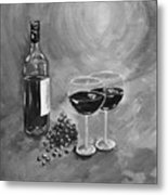 Wine On My Canvas - Black And White - Wine For Two Metal Print