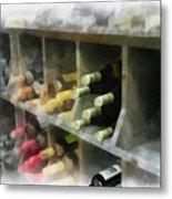 Wine Rack Mixed Media 01 Metal Print