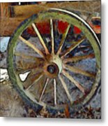 Wine Wagon Wheel Metal Print