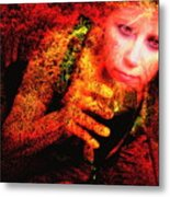 Wine Woman And Fall Colors Metal Print