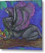 Winged Panther Kitten Cub Metal Print