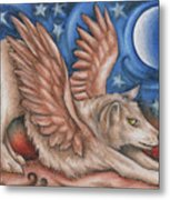 Winged Wolf In Downward Dog Yoga Pose Metal Print
