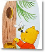 Winnie The Pooh And His Lunch Metal Print
