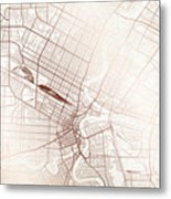 Winnipeg Street Map Colorful Copper Modern Minimalist Metal Print