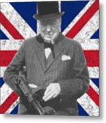Winston Churchill And Flag Metal Print