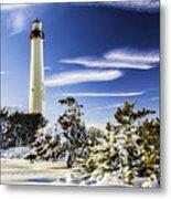 Winter At Cape May Light Metal Print