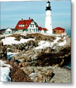Winter At Portland Head Metal Print by Greg Fortier