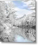Winter At The Reservoir Metal Print by Lori Deiter