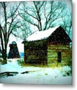 Winter Barn And Silo Metal Print