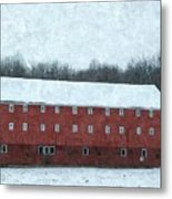 Winter Barn In Oil Metal Print